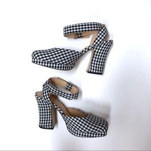 Zara Gingham Platform Heels with Ankle Strap
